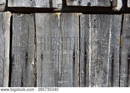 Top Of Very Old Plank Door, Hard Sunlight