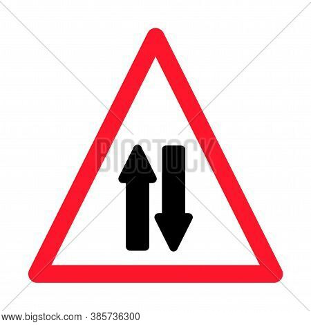 Road Sign Warning Two Way Traffic On White Background.