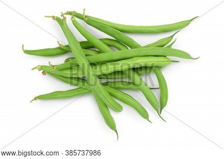 Green Beans Isolated On A White Background With Clipping Path And Full Depth Of Field, Top View. Fla
