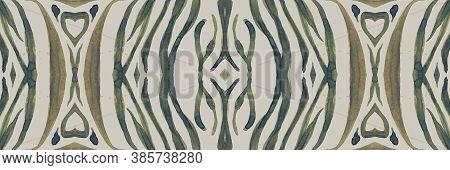 Seamless Animal Border. Zebra Lines. Abstract Safari Print. Watercolour Africa Ornament. Wild Fabric