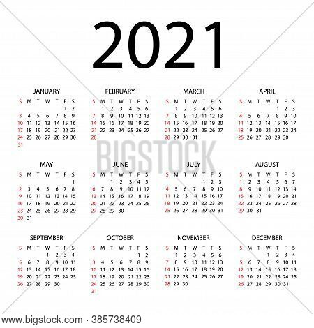 Calendar 2021 Year - Vector Illustration. The Week Starts On Sunday. Annual Calendar 2021 Template.