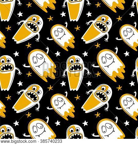 Vector Seamless Pattern For Halloween. Scary Ghosts With Creepy Jaws And Teeth Fly In The Night Sky.