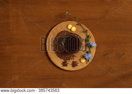 Hot Drink Made From Ground Chicory Root, Chicory Granules And Flowers On A Wooden Tray. Overhead, Wo
