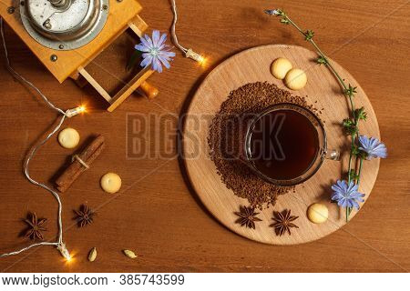 Hot Drink Made From Ground Chicory Root, Chicory Granules And Flowers On A Wooden Tray, Vintage Coff