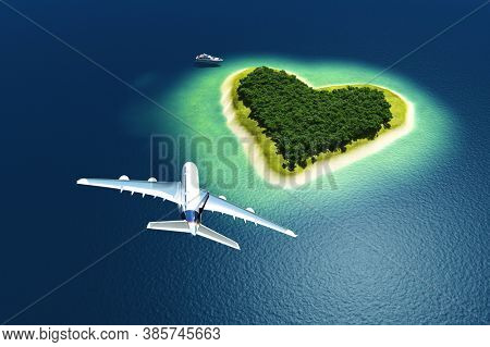Passenger plane over the island. ,3d render
