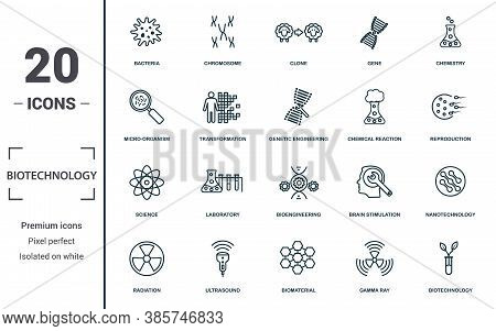 Biotechnology Icon Set. Monochrome Sign Collection With Bacteria, Chromosome, Clone, Gene And Over I