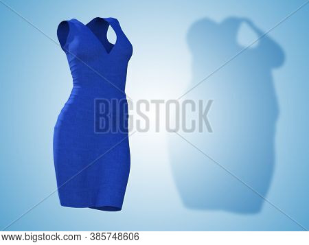 Conceptual fat overweight obese shadow female dress outfit vs slim fit healthy body after weight loss or diet thin young woman isolated. A fitness, nutrition or obesity health shape 3D illustration