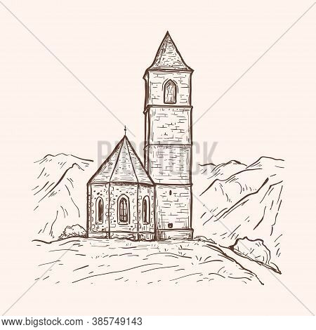 Sketch Hand Drawn Vector Illustration With Church On The Mountain. Vintage Design For Print, Postcar