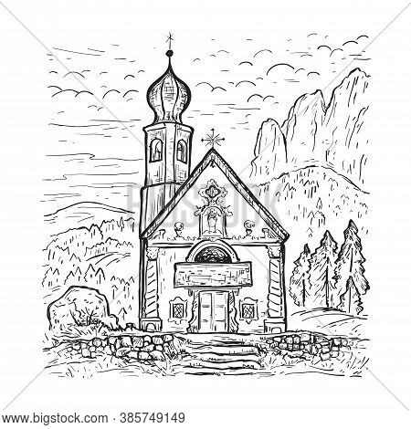 Funes Valley, Dolomites, Italy. Chiesetta Di San Giovanni Church. Italy, Europe. Santa Maddalena. Sk