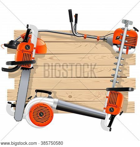 Vector Wooden Frame With Garden Equipment Isolated On White Background