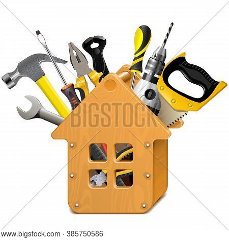 Vector Wooden House With Tools Isolated On White Background
