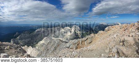 Triglav Summit Panorama View On Surrounding Mountain Range Of Triglav National Park In Slovenia. Tra