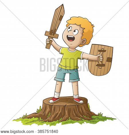 Boy With Sword And Shield From Paperboard. Hand Drawn Vector Illustration With Separate Layers.