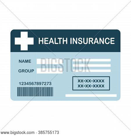 Health Insurance Card Flat Design On White Background. Medical Insurance Card Concept Vector Illustr