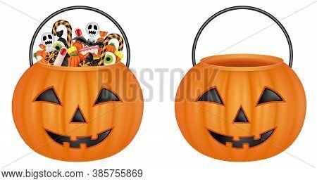 Isolated Pumpkin Buckets. Empty Bucket And Bucket With Halloween Candies
