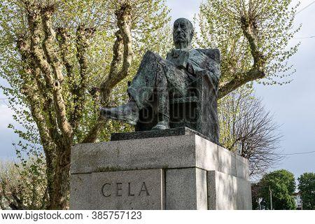 Padron, Spain; September 16, 2020: Bronze Statue Of Camilo Jose Cela In A Park. Padron, Galicia