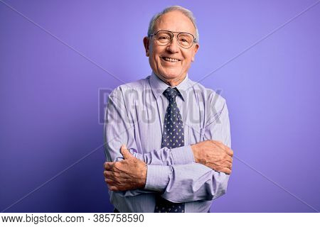 Grey haired senior business man wearing glasses standing over purple isolated background happy face smiling with crossed arms looking at the camera. Positive person.