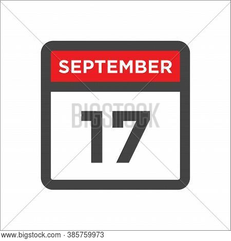 September 17 Calendar Icon With Day & Month Date
