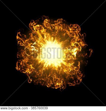 Inferno Fireball. Abstract Burning Sphere With Glowing Flames, 3d Rendering