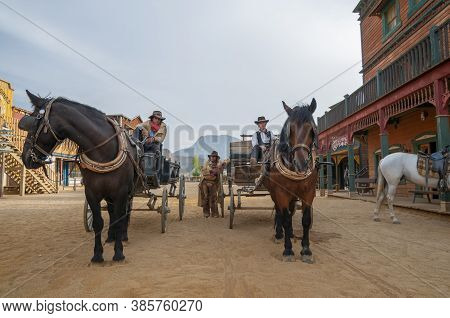 Tabernas, Spain - September 21, 2008: Sheriffs And Horses At Mini Hollywood, Almeria Province, Andal