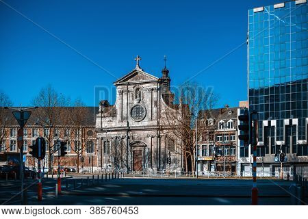LIEGE, BELGIUM - February 24, 2018: Traditional Cathedral building in Liege city, Belgium