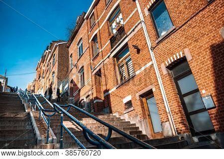 LIEGE, BELGIUM - February 24, 2018: Stairs of Mount Bueren in Liege city, Belgium