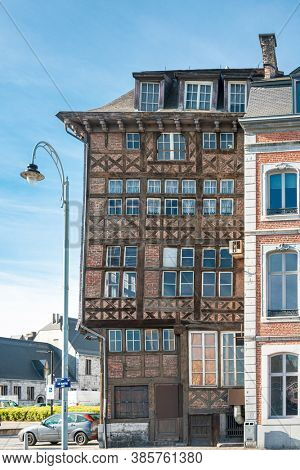 LIEGE, BELGIUM - February 24, 2018: Street view of downtown in Liege city, Belgium