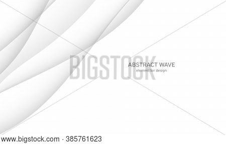 Abstract White Background With Smooth Gray Lines, Waves. Modern And Fashion. Gradient Geometric. Vec
