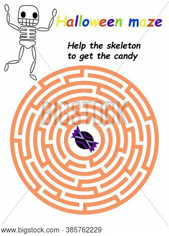 Help The Skeleton To Get The Candy Children Maze Game Stock Vector Illustration. Funny Educational H