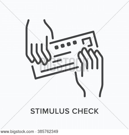 Hands Giving Bank Check Flat Line Icon. Vector Outline Illustration Of Payment, Voucher. Stimulus Ch
