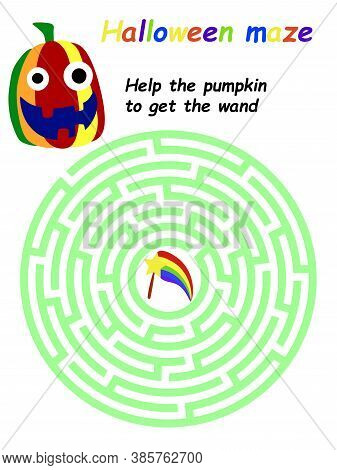 Help The Pumpkin To Get The Wand Game For Kids Stock Vector Illustration. Halloween Educational Prin