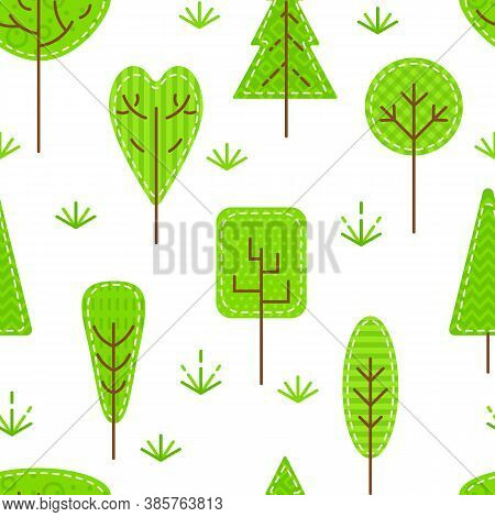 Seamless Pattern With Forest Trees On White Background. Flat Patch Stylized Plant Icons. Concept For