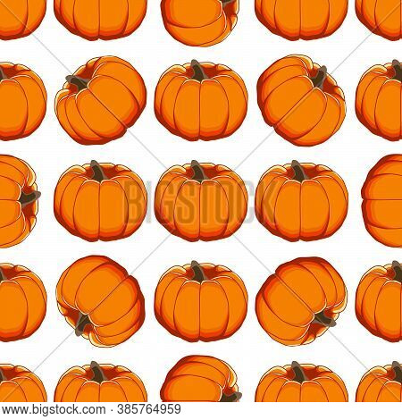 Illustration On Theme Of Bright Pattern Yellow Pumpkin, Vegetable Gourd For Seal. Vegetable Pattern