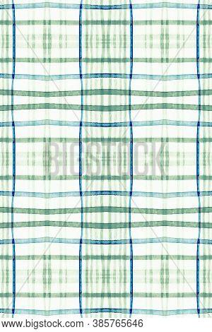 Watercolor Scottish Print. Green Square Material. Seamless Celtic Cloth Design. Buffalo Wallpaper. M