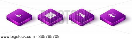 Set Isometric Bottle With Message In Water, Wanted Poster Pirate, Cannon Cannonballs And Boat Oars I