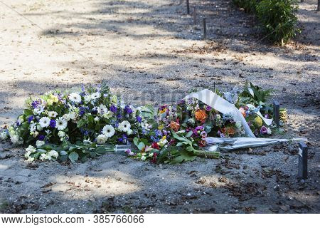 Flowers On A New Grave Without Tombstone In A Cemetery In Rotterdam In The Netherlands