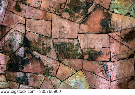 Broken Stone Background Brown Mixed Surface Background