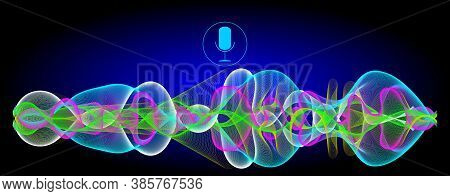 Multi Coloured Voice Recognition With A Microphone And Glossy Soundwaves - Illustration