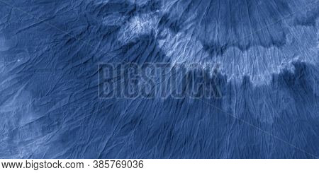 Navy Dirty Tie Dye. Wrinkled Ink Paper. Watercolor Illustration. Bohemian Surface. Marine Shibori Ti
