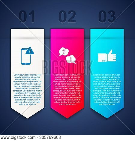 Set Mobile With Exclamation Mark, Question And Exclamation And Hand Thumb Up. Business Infographic T