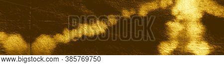 Gold Foil Ikad Pattern. Tie-dye Background. Watercolor Paint Blots. Crumpled Texture. Ikad Chevron.