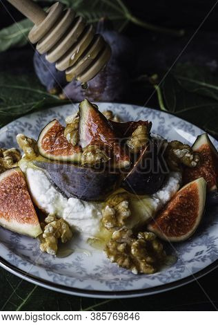 Fig And Fresh Cheese Dessert With Walnuts Gastronomy, Cottage Cheese Served With Figs And Walnuts