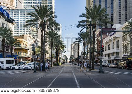 New Orleans - October 18, 2016: View Of The Famous Canal Street On October 10, 2016 In New Orleans,
