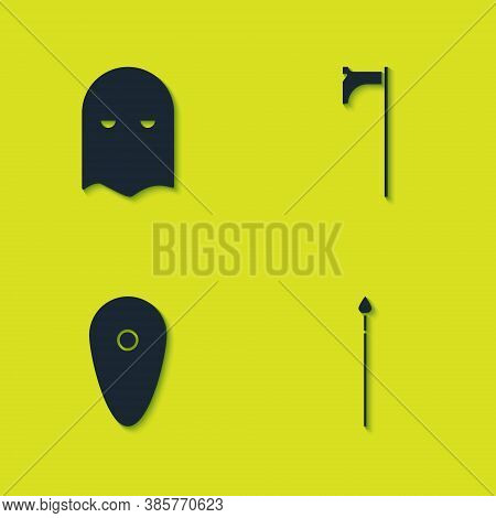 Set Executioner Mask, Medieval Spear, Shield And Axe Icon. Vector