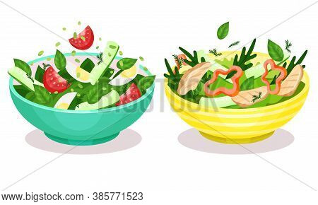 Fresh Salads In Bowl With Green Vegetables And Meat Slabs Vector Set