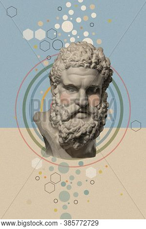 Art Collage With Antique Sculpture Of Heracles Face And Numbers, Geometric Shapes. Science, Research