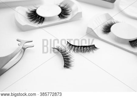 Fake Eyelashes & Accessories. Composition With False Eyelashes On Table.flat Composition With False