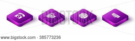 Set Isometric Telephone, Pos Terminal With Credit Card, Worldwide And Bank Check And Pen Icon. Vecto