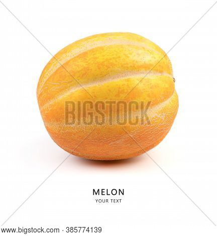 Ripe Melon On A White Background, Side View. Fruit Background With Space To Copy.