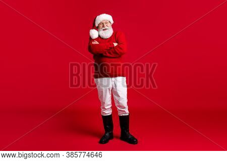 Full Body Photo Of Old Man In Santa Claus Headwear Cross Hands Enjoy Jolly Holly Magic Miracle Event